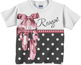 Ballerina Shirt, Personalized Girl's Ballet Slipper T-Shirt, Black Polka Dots