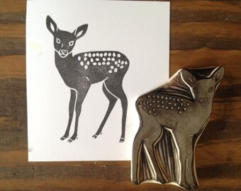 Fawn Rubber Stamp   Baby Deer Stamp