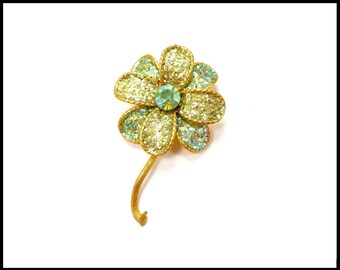Green Aurora Borealis Rhinestone Brooch, Large Green Flower, Green AB Metal Glitter & Gold Brooch, Bridal Bouquet Flower, Gift for Her