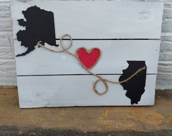 2 State Wall Art/ Long Distance States