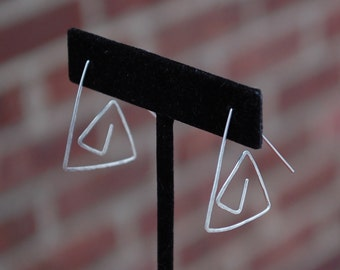 Abstract Chevron Hammered Triangle Sterling Silver Earrings Eco Friendly Recycled