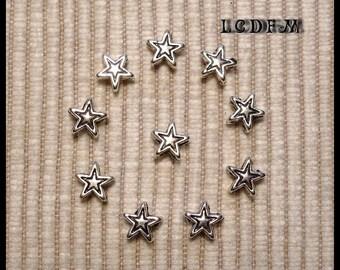 * ¤ Set of 10 beads * star * metal - 6mm ¤ * #P9