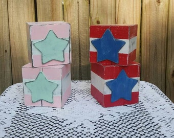 Salvaged Old Barn Wood American Flag Inspired Blocks,  Stars and Stripes, Fourth of July Americana Home Accessories , by urbcoco