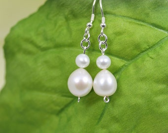 Pearl earring, Bridal jewelry, Wedding jewelry, Freshwater Pearl earrings, Pearl drop earrings, Pearl jewelry, 925 Silver, Free D. Shipping