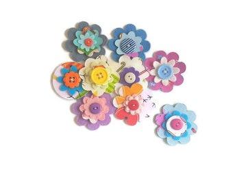 Die cut felt flowers embellishment shapes felt circle felt backed fabric arts and crafts scrapbooking pre cut flower