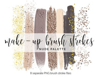 Handpainted brush strokes // watercolor brush stroke // make-up brush clip art // gold glitter rose gold brush strokes // marble