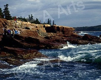 Thunder Hole Acadia National Park Mt Desert Island Maine Color Art Print-Maine Panoramic Photography-Maine Photographer Paul Vose