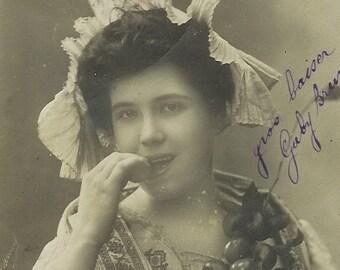 SALE Antique French postcard, RPPC Edwardian lady with fruit, paper ephemera. Price reduced.