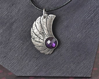 Silver pendant with amethyst CZ, purple textured asymmetrical silver pendant necklace faceted gemstone
