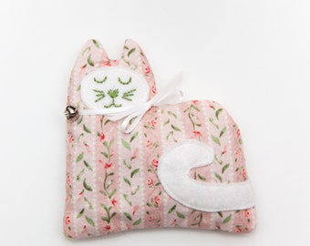 Pink and Green Floral Lavender Kitty Sachet, Aromatherapy Sachets, Stocking Stuffers