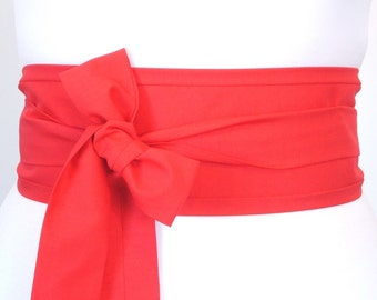 Red obi belt sash for geisha kimono yukata robe dress - wrap around fabric sash for everyday or evening party wear - cosplay