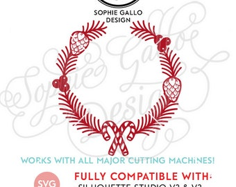 Christmas Candy Wreath, SVG DXF PNG digital download file- Silhouette Cricut vector graphics Clip Art Vinyl Cutting Machines Screen Printing