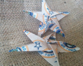 United States Air Force Origami Cotton Fabric Star Ornament