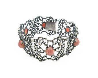 Art Deco Nouveau Jugendstil German Silver Rhodochrosite Bracelet - 835 Silver, Pink Agate, Germany Jewelry, Art Deco Jewelry