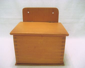 Wooden Recipe File Box with Blank Recipe Cards and Dividers Vintage 1970s Counter Top or Hanging Recipe Holder
