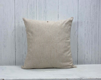Organic Cotton, Ticking Stripe, Farmhouse Pillow, Farmhouse Decor, Pillow Cover, Throw Pillow, Brown and White, 22x22, Custom Pillow Cover
