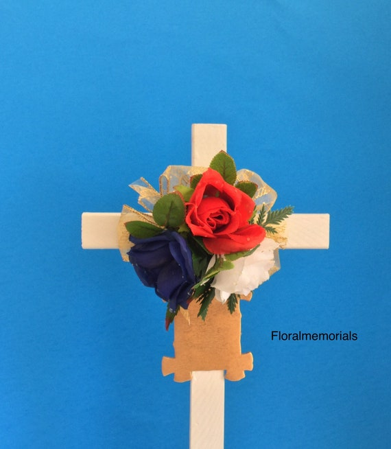 Patriotic Cemetery cross, grave decoration, memorial cross, grave marker, Memorial Day