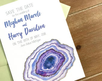 Save the date invitations, agate invitations, geode invitations, ultra violet, custom wedding invitations, agate save the date, set of 25