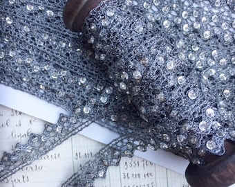 metallic trim for embellishing headbands, clothing , costumes. doll clothes . silver and crystal trim for scrapbooking and card making,