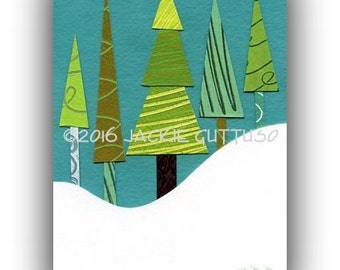 "Whimsical tree art, Giclee print 5 x 7"", Tree collage, Woodland nursery art print, Cabin art, Forest nursery art print, Tree painting print"