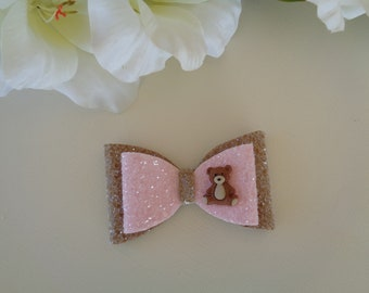Glitter Hair Bow Pink and Gingerbread, Glitter Bow with Teddy Embellishment, Novelty Hair Bow, Child's Hair Bow, Girl's Hair Accessory,