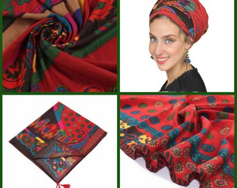 Amazing Soft Colorful Red Headscarf TICHEL, Hair Snood, Head Scarf, Head Covering, Jewish headcovering, Scarf, Bandana, Apron