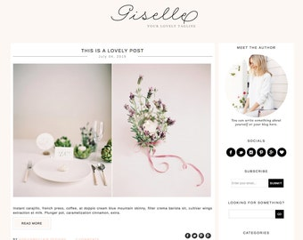 Blogger Template Premade Blog Theme Design Giselle - Instant Digital Download, Feminine, Pink and White