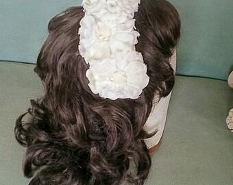 Bridal wedding floral headband hairpiece