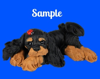 Black and Tan Cavalier King Charles Spaniel Dog with ladybug on head OOAK polymer clay art sculpture by Sally's Bits of Clay