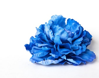 Large Peony in Blue - 6 Inches - Artificial Flower, Millinery Flower, craft flower - ITEM 01099