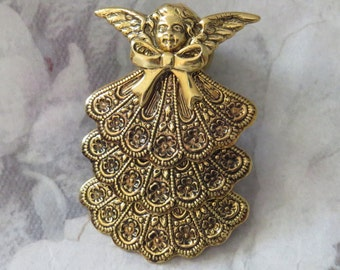 Mother's & Grandmother's Birthstone Angel Brooch 24 Karat Gold Plate, Silver Plate or Brass PG267G-3/PG267B-3/PS217-3