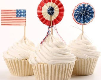 READY TO SHIP 4th of July, Independence Day Themed Cupcake Toppers, Picks, Cake Toppers, Cake Topper Pick, Cupcake Picks, Birthday, Baby