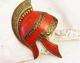 Spartan Helmet Red Enamel Brass Helmet Brooch Vintage Roman Helmet Brooches