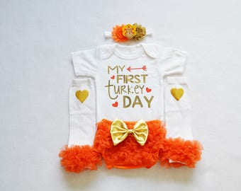 my first turkey day  baby girl outfit - my first thanksgiving baby girl outfit -  girl my 1st thanksgiving - baby girl thanksgiving outfit