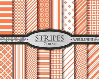 Coral Stripe Digital Paper Set for Scrapbooking - Printable Backdrops - Instant Download