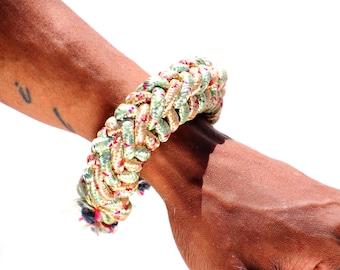 Poly Cord Woven Bracelet, Forearm Rings, Jewelry, Celtic Weaving Wrist Cuff, Statement Jewelry