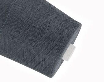 Dark gray linen yarn, linen flex thread, crochet yarn, weaving yarn, thin thick yarn