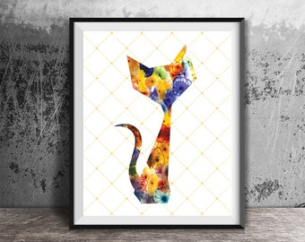 Abstract cat art. Abstract Cat Print. Floral cat print. Colorful cat print. Home decor Apartment wall art, cat lover gift. Animal wall decor