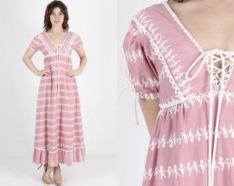 Gunne Sax Dress Boho Wedding Dress Maxi Dress Pink Dress Bohemian Dress Renaissance Fair Vintage 70s Dancing Kids Cherub Prairie Dress S