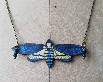 Deaths Head Moth, Butterfly Necklace Blue Yellow, White, Black Moth Pendant,  Blue Crystal Dangles