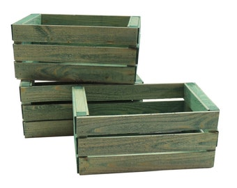 3 Small Wooden Crates Fully Assembled and Dyed Green