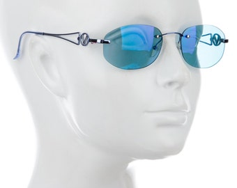 "25% Off // 90s VALENTINO Baby Blue Cyber Mirrored Metallic / Holographic Minimal Frameless Oval Eye Round Sunglasses w/ Metal ""V"" Arms"