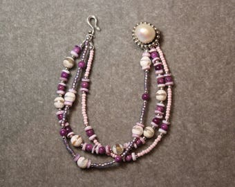 SALE Triple strand bracelet with amethyst, agate and lepidolite, and pearl on sterling silver