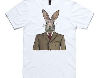 Dapper Rabbit T-Shirt by RockPaperHeart in white wild animal sketch art hare bunny