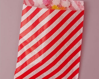 TAX SEASON Stock up 25 Pack 5 X 7 Inch Color and White Striped Flat Paper Food Safe Bags