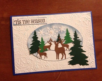 Winter Scene Deer Christmas Card with envelope