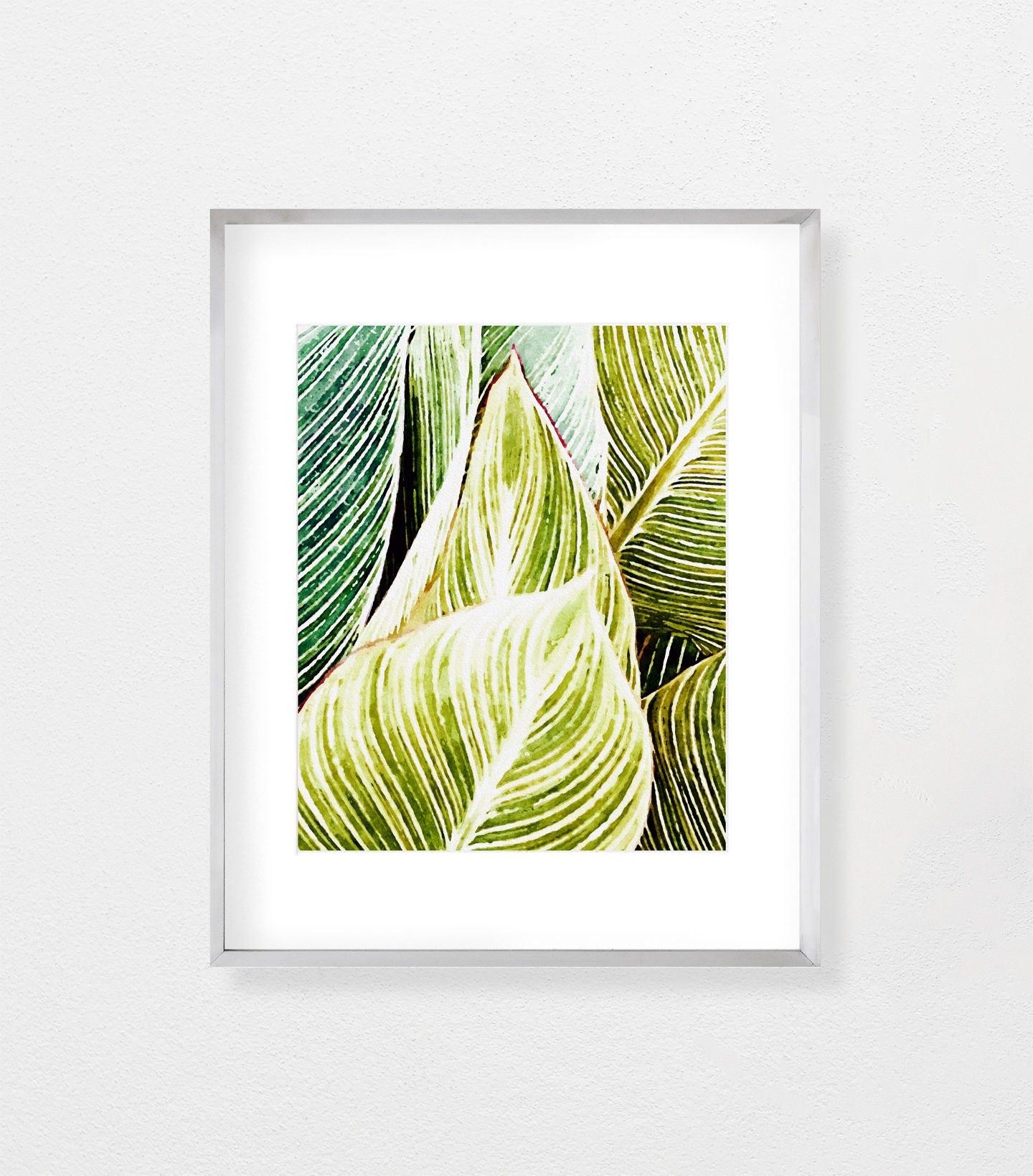 Palm Leaf Print Printable Wall Art Tropical Decor Tropical