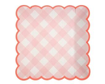 Meri Meri pink white gingham red scallop border set of 12