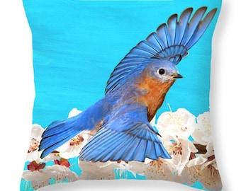 Nature Throw Pillow, Male Bluebird, Accent Pillow, Bird Pillow, Pillow Cushion, Home Decor, Couch Pillow, Wildlife Decor, Blue and White