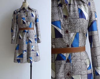 Vintage 70's 'Stained Glass Windows' Brown & Blue Shirt Dress S